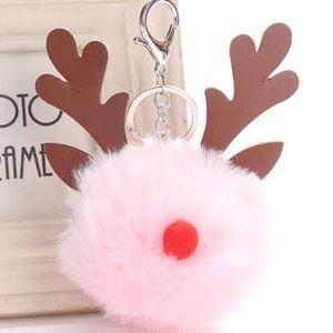 2 pink red Rudolph reindeer bag pom or purses 